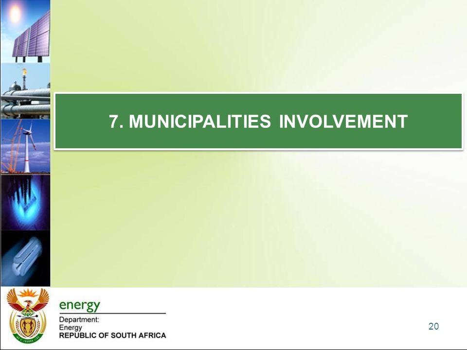 7. MUNICIPALITIES INVOLVEMENT 20