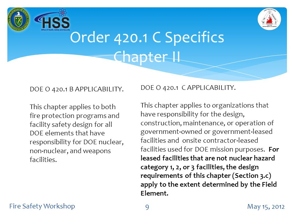 May 15, 2012 Fire Safety Workshop9 DOE O 420.1 C APPLICABILITY.