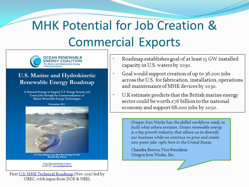 MHK Potential for Job Creation & Commercial Exports First U.S.