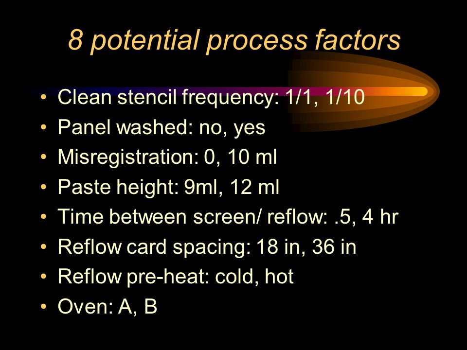 8 potential process factors Clean stencil frequency: 1/1, 1/10 Panel washed: no, yes Misregistration: 0, 10 ml Paste height: 9ml, 12 ml Time between screen/ reflow:.5, 4 hr Reflow card spacing: 18 in, 36 in Reflow pre-heat: cold, hot Oven: A, B