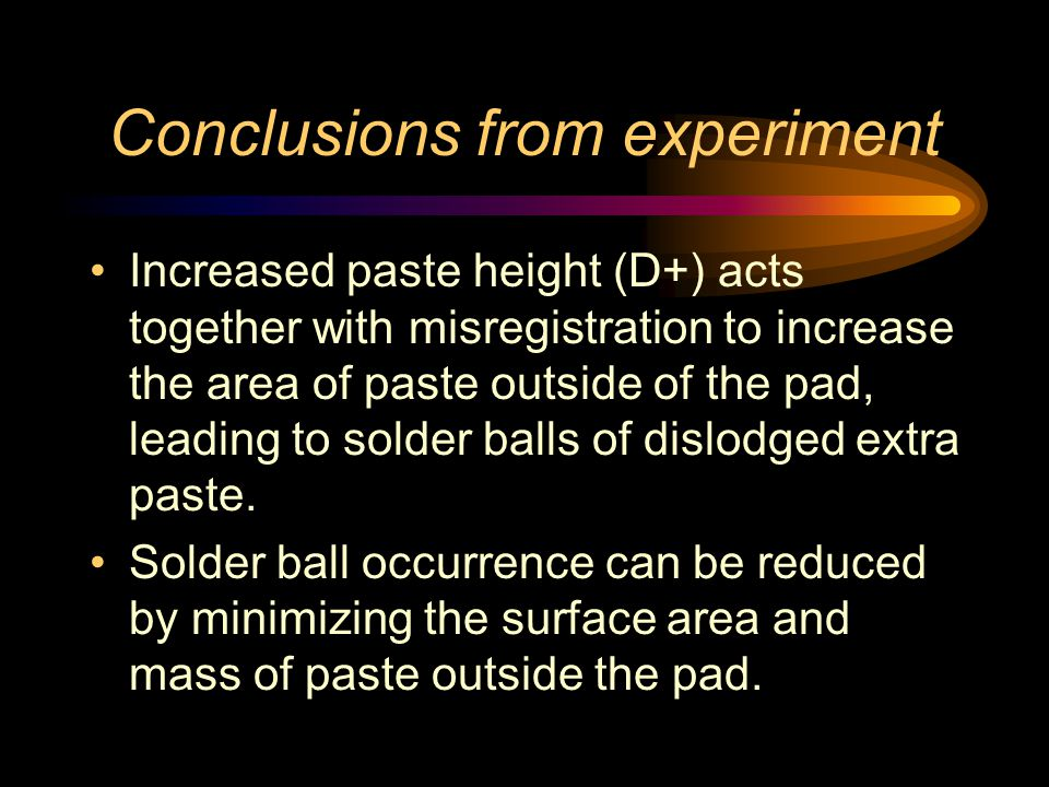 Conclusions from experiment Increased paste height (D+) acts together with misregistration to increase the area of paste outside of the pad, leading to solder balls of dislodged extra paste.