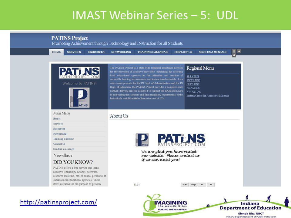 IMAST Webinar Series – 5: UDL http://patinsproject.com/
