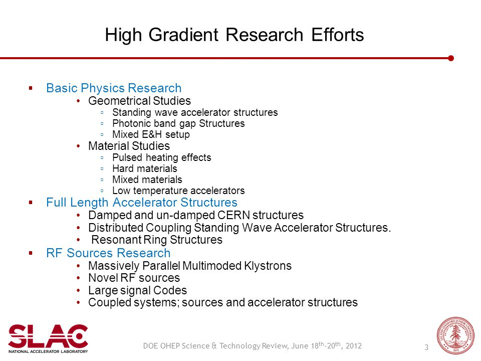 High Gradient Research Efforts  Basic Physics Research Geometrical Studies ▫ Standing wave accelerator structures ▫ Photonic band gap Structures ▫ Mi