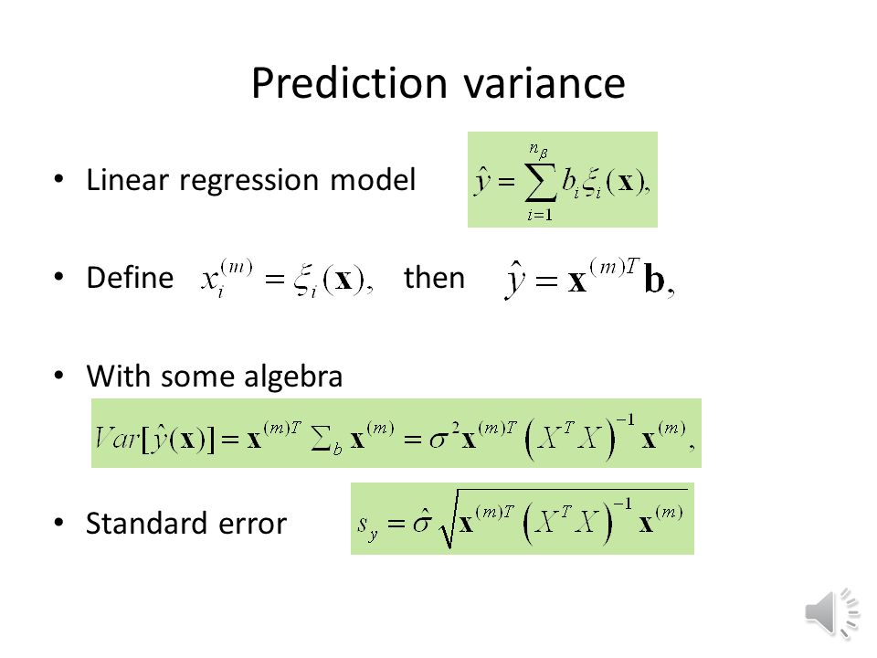 Variance optimal designs Full factorial and CCD are not flexible in number of points Standard error A key to most optimal DOE methods is moment matrix A good design of experiments will maximize the terms in this matrix, especially the diagonal elements.