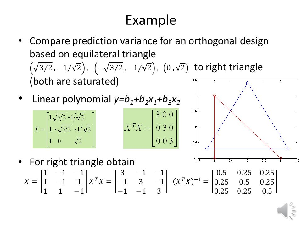 Designs for linear polynomials Traditionally use only two levels. Orthogonal design when X T X is diagonal. Full factorial design is orthogonal, not s