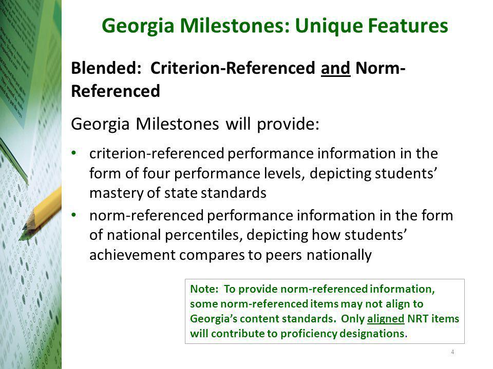 Transition to Georgia Milestones Resources Content standards frameworks, formative lessons, PARCC evidence statements Sample items formative items/benchmarks via Georgia OAS→GOFAR; released items via PARCC, other states (KY, NY), NAEP parent's guide to Georgia's new assessment developed by the National PTA [http://www.pta.org/advocacy/content.cfm?ItemNumber=3816 ] CRCT Readiness Indicators Lexiles (as one indicator of text complexity) Technology Specifications Eliciting Evidence of Student Learning Modules Focus on teaching and learning – eliciting evidence of student learning during instruction and adjusting as needed.