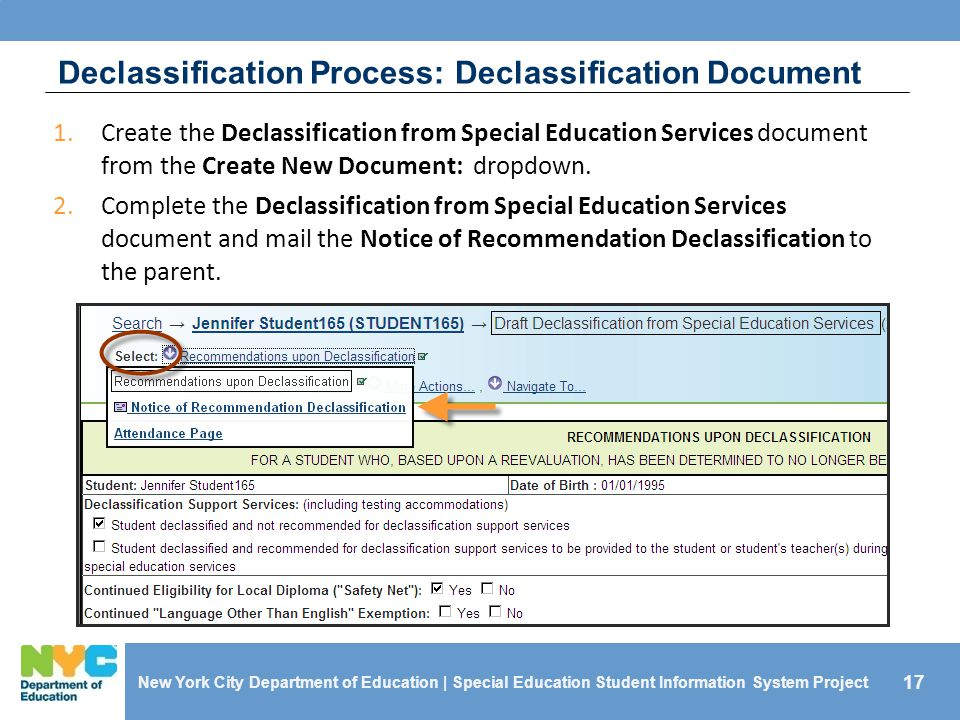 17 New York City Department of Education | Special Education Student Information System Project Declassification Process: Declassification Document 1.