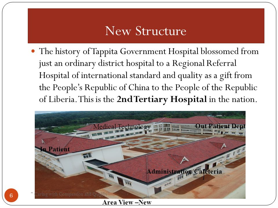 New Structure The history of Tappita Government Hospital blossomed from just an ordinary district hospital to a Regional Referral Hospital of international standard and quality as a gift from the People's Republic of China to the People of the Republic of Liberia.