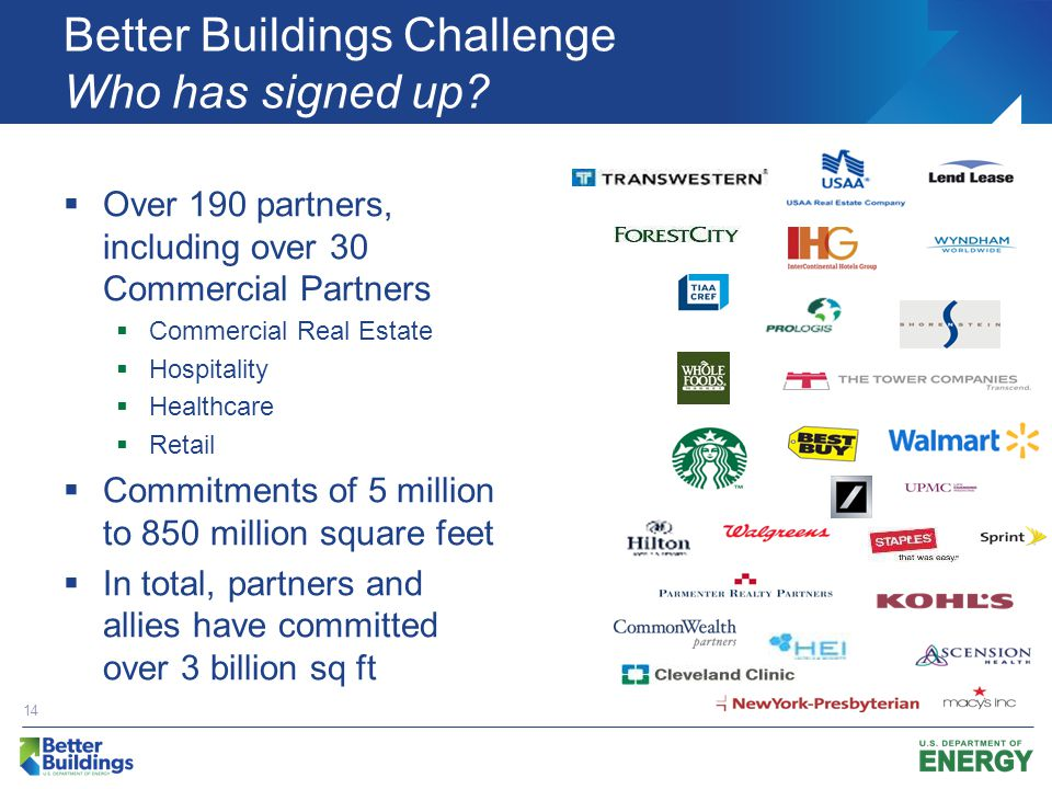 Better Buildings Challenge Who has signed up.