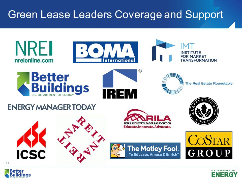Green Lease Leaders Coverage and Support 33