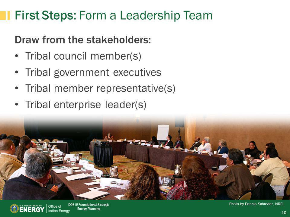 DOE-IE Foundational Strategic Energy Planning First Steps: Form a Leadership Team Draw from the stakeholders: Tribal council member(s) Tribal governme