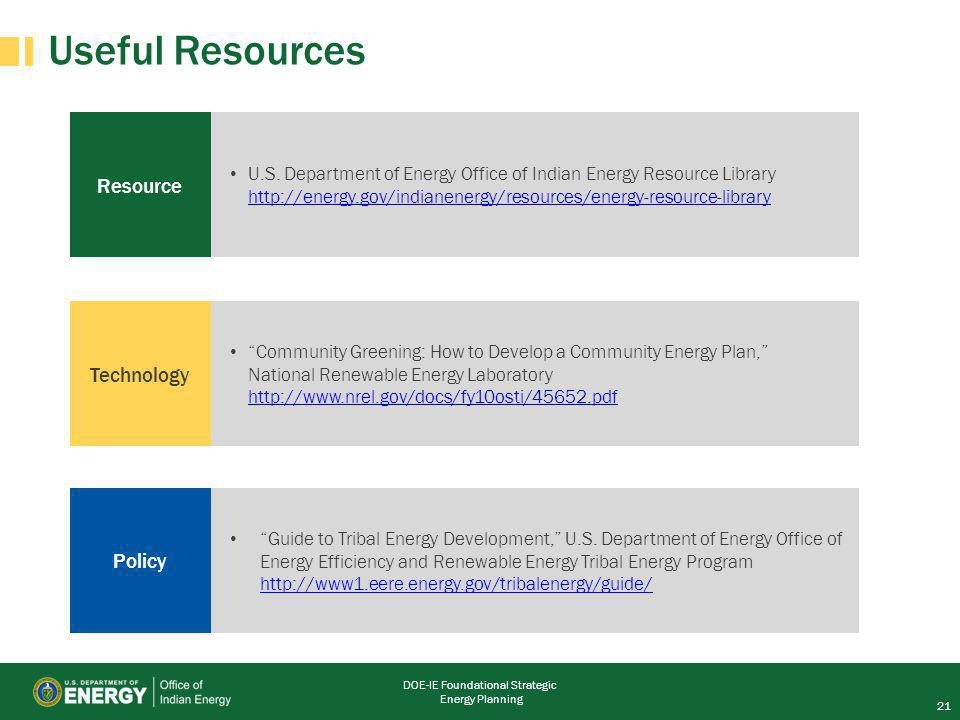 DOE-IE Foundational Strategic Energy Planning Resource Useful Resources U.S.