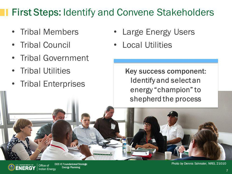 DOE-IE Foundational Strategic Energy Planning First Steps: Identify and Convene Stakeholders Tribal Members Tribal Council Tribal Government Tribal Utilities Tribal Enterprises Large Energy Users Local Utilities Key success component: Identify and select an energy champion to shepherd the process Photo by Dennis Schroder, NREL 21010 7