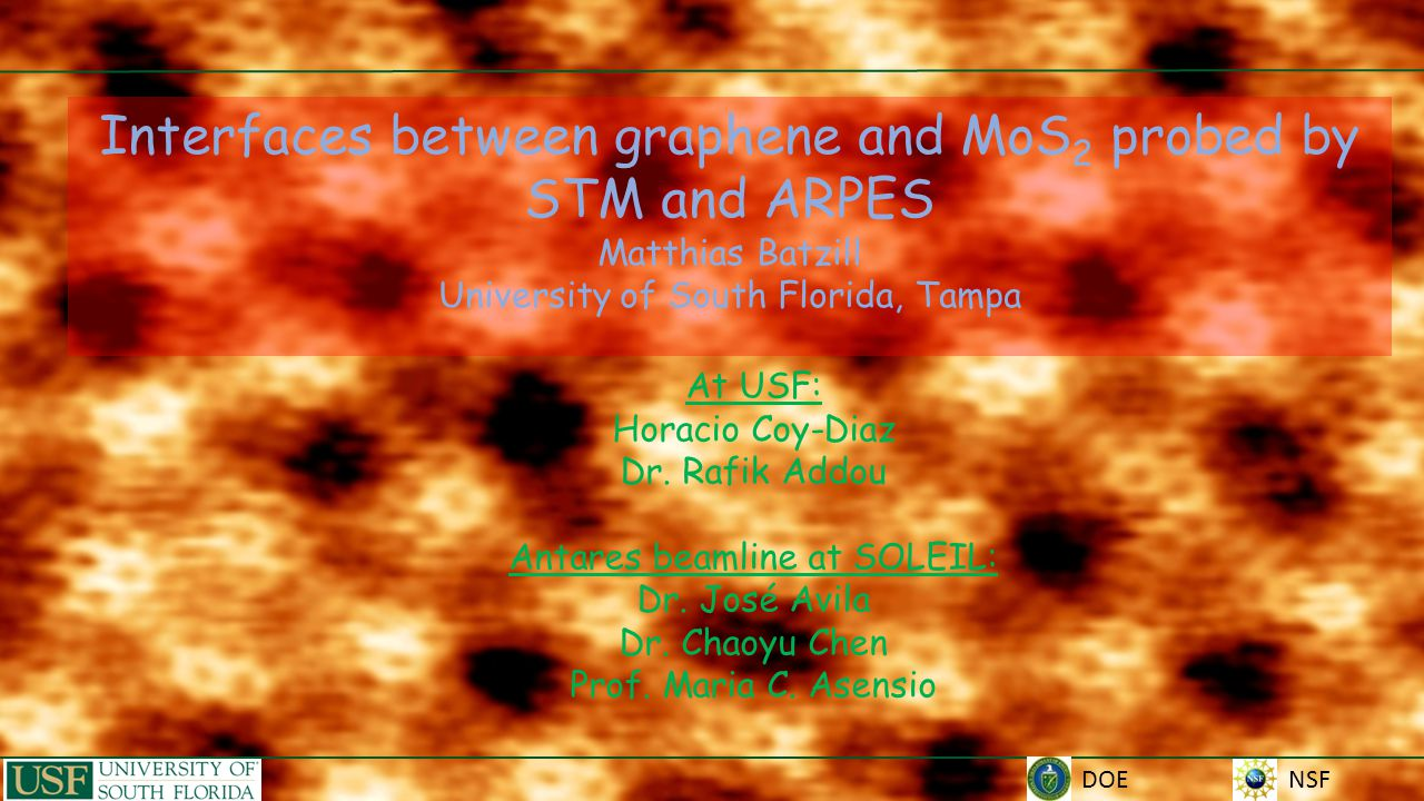 NSF Interfaces between graphene and MoS 2 probed by STM and ARPES Matthias Batzill University of South Florida, Tampa DOE At USF: Horacio Coy-Diaz Dr.
