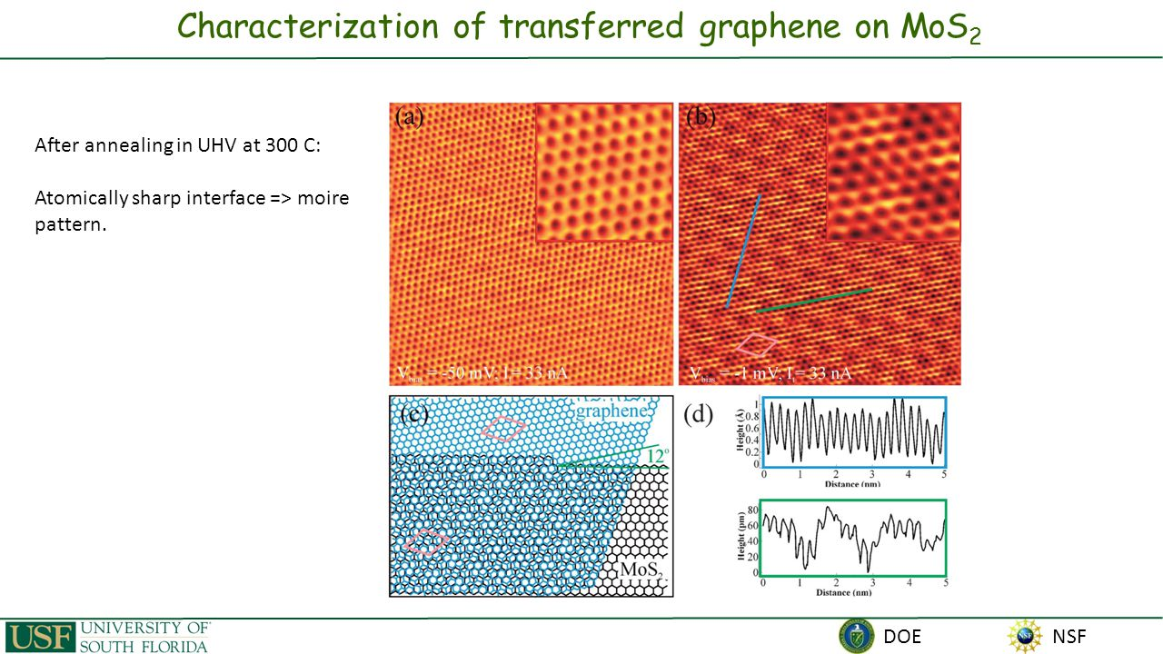 NSF DOE Electronic structure of transferred graphene on MoS 2 1.12 eV 1.23 eV E Fermi graphene MoS 2   