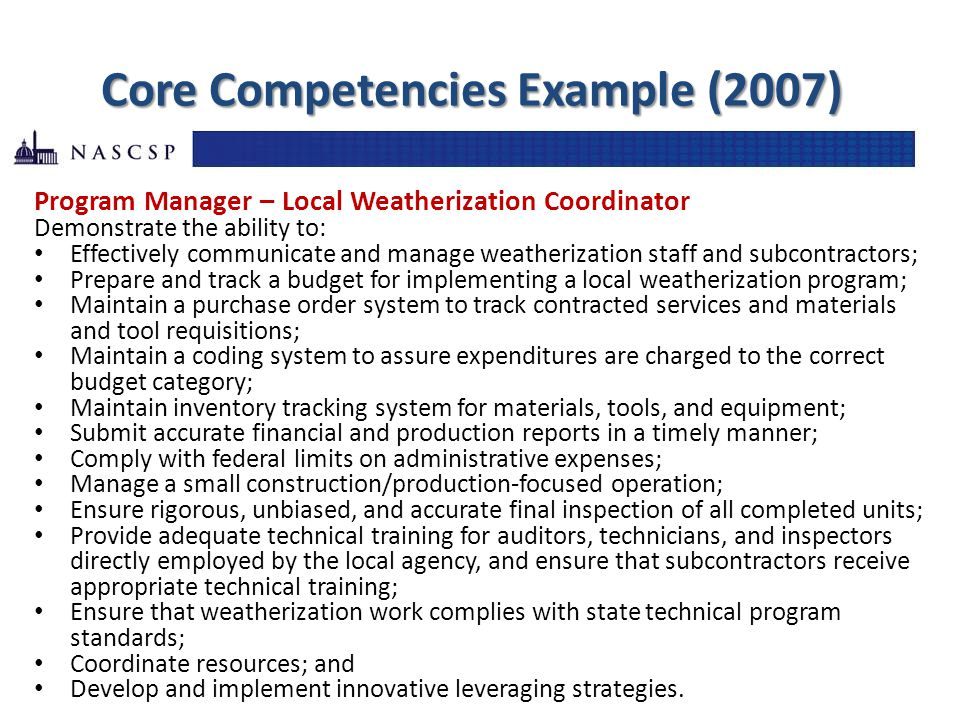Core Competencies Example (2007) Program Manager – Local Weatherization Coordinator Demonstrate the ability to: Effectively communicate and manage wea