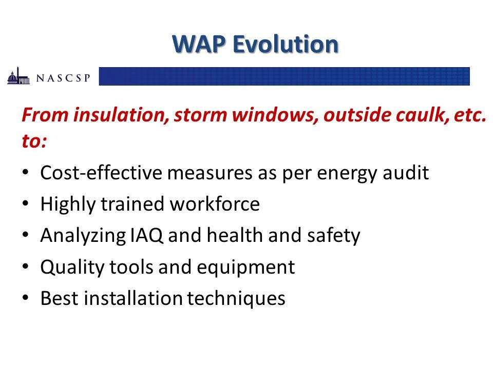 WAP Evolution From insulation, storm windows, outside caulk, etc.