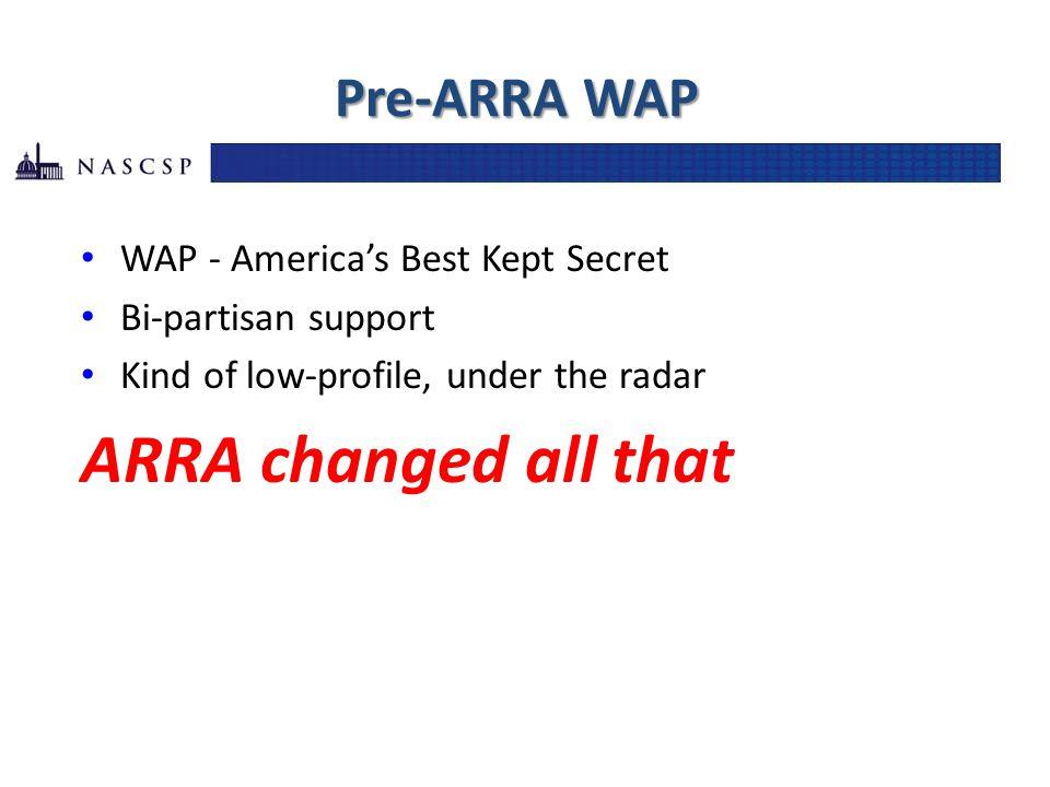 Pre-ARRA WAP WAP - America's Best Kept Secret Bi-partisan support Kind of low-profile, under the radar ARRA changed all that