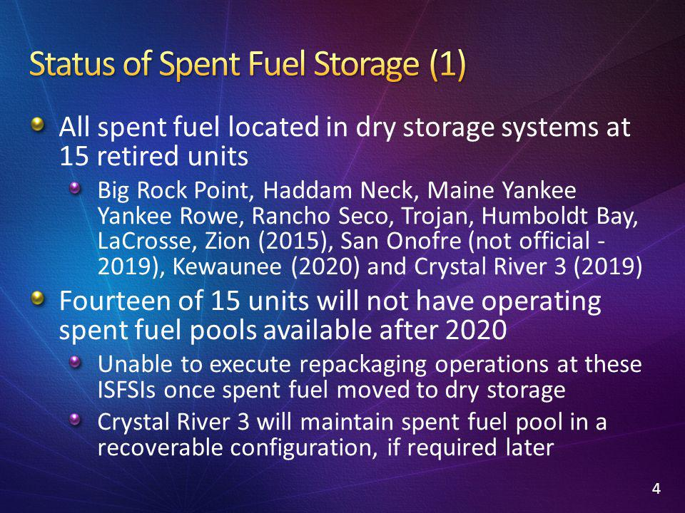 All spent fuel located in dry storage systems at 15 retired units Big Rock Point, Haddam Neck, Maine Yankee Yankee Rowe, Rancho Seco, Trojan, Humboldt