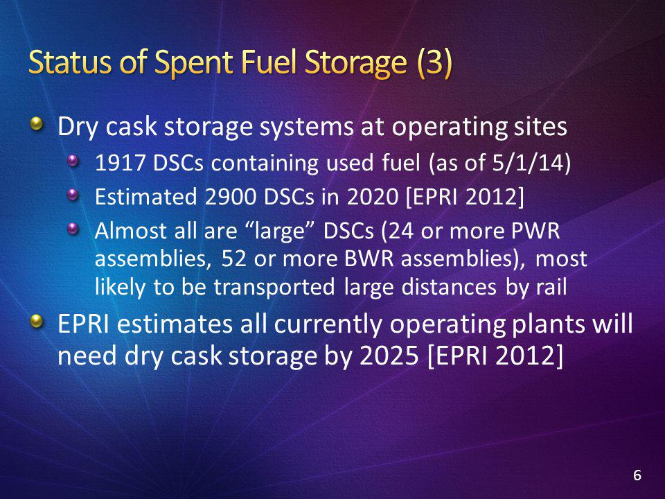 "Dry cask storage systems at operating sites 1917 DSCs containing used fuel (as of 5/1/14) Estimated 2900 DSCs in 2020 [EPRI 2012] Almost all are ""larg"