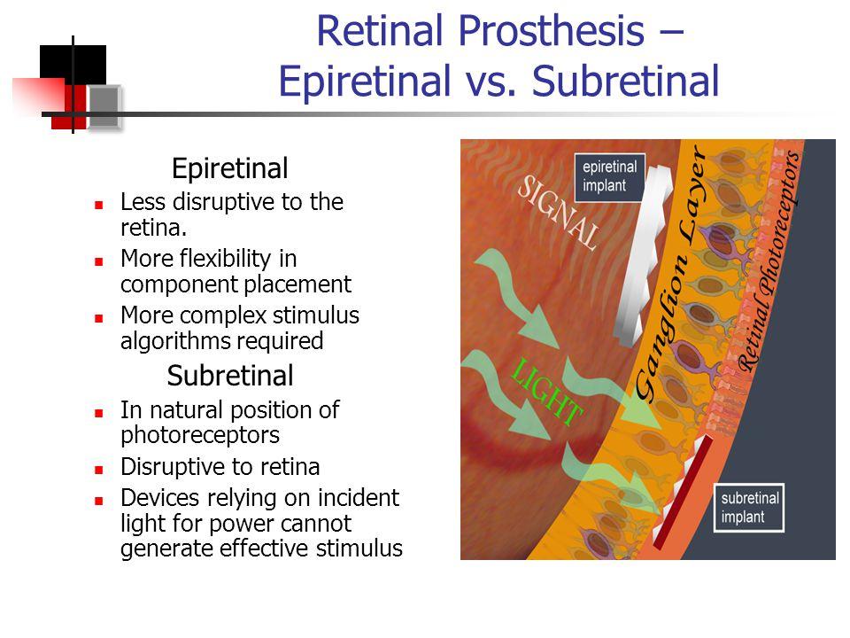 Retinal Prosthesis – Epiretinal vs. Subretinal Epiretinal Less disruptive to the retina.