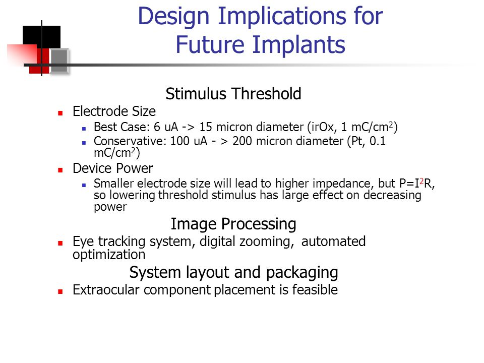 Design Implications for Future Implants Stimulus Threshold Electrode Size Best Case: 6 uA -> 15 micron diameter (irOx, 1 mC/cm 2 ) Conservative: 100 uA - > 200 micron diameter (Pt, 0.1 mC/cm 2 ) Device Power Smaller electrode size will lead to higher impedance, but P=I 2 R, so lowering threshold stimulus has large effect on decreasing power Image Processing Eye tracking system, digital zooming, automated optimization System layout and packaging Extraocular component placement is feasible