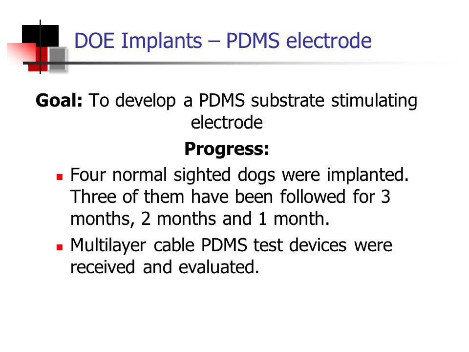 Implantation of LLNL device #4 Postoperative 1 st month OCT imaging (horizontal scan) Postoperative 1 st month OCT imaging (vertical scan) DOE Implants – PDMS Electrode OCT: Optical Coherence Tomography