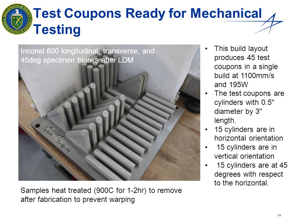 14 Test Coupons Ready for Mechanical Testing Inconel 600 longitudinal, transverse, and 45deg specimen blanks after LDM Samples heat treated (900C for