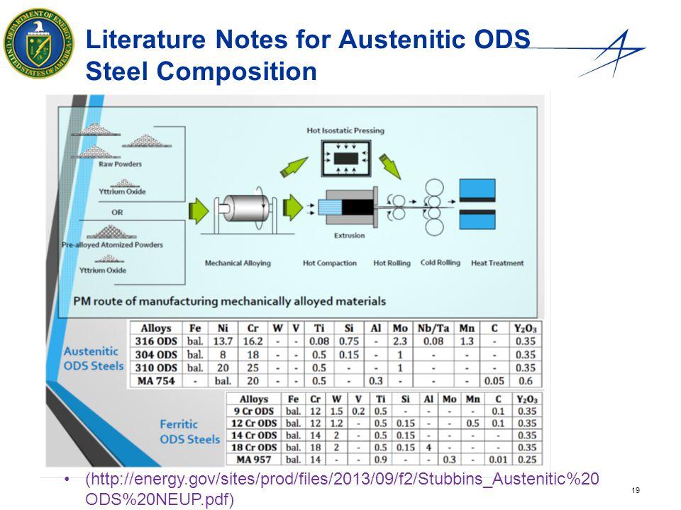 19 Literature Notes for Austenitic ODS Steel Composition (http://energy.gov/sites/prod/files/2013/09/f2/Stubbins_Austenitic%20 ODS%20NEUP.pdf)