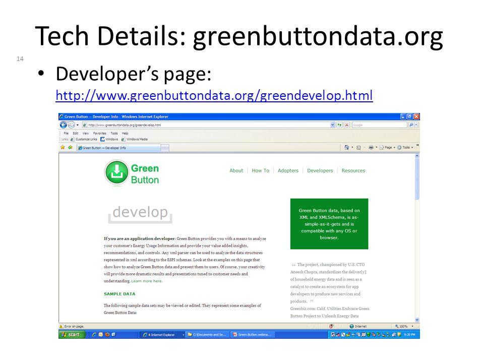 Tech Details: greenbuttondata.org Developer's page: http://www.greenbuttondata.org/greendevelop.html http://www.greenbuttondata.org/greendevelop.html 14