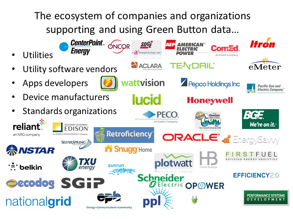 Utilities Utility software vendors Apps developers Device manufacturers Standards organizations The ecosystem of companies and organizations supporting and using Green Button data…