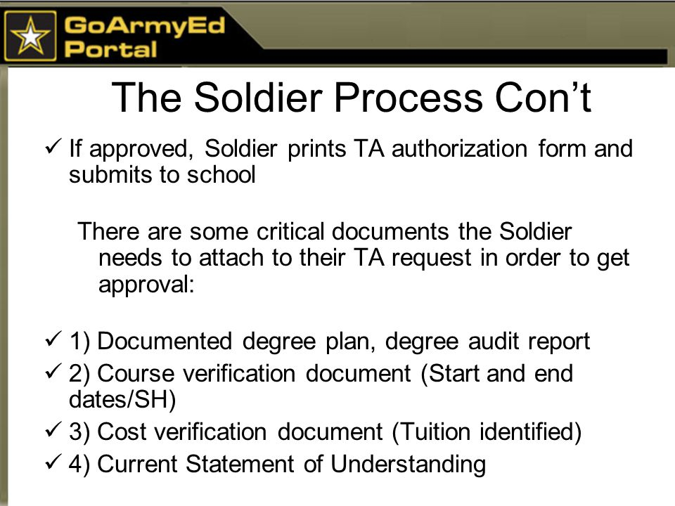 The Soldier Process Con't If approved, Soldier prints TA authorization form and submits to school There are some critical documents the Soldier needs to attach to their TA request in order to get approval: 1) Documented degree plan, degree audit report 2) Course verification document (Start and end dates/SH) 3) Cost verification document (Tuition identified) 4) Current Statement of Understanding