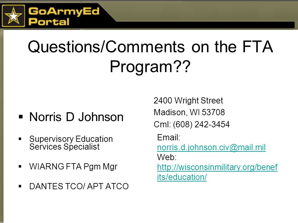 Questions/Comments on the FTA Program .