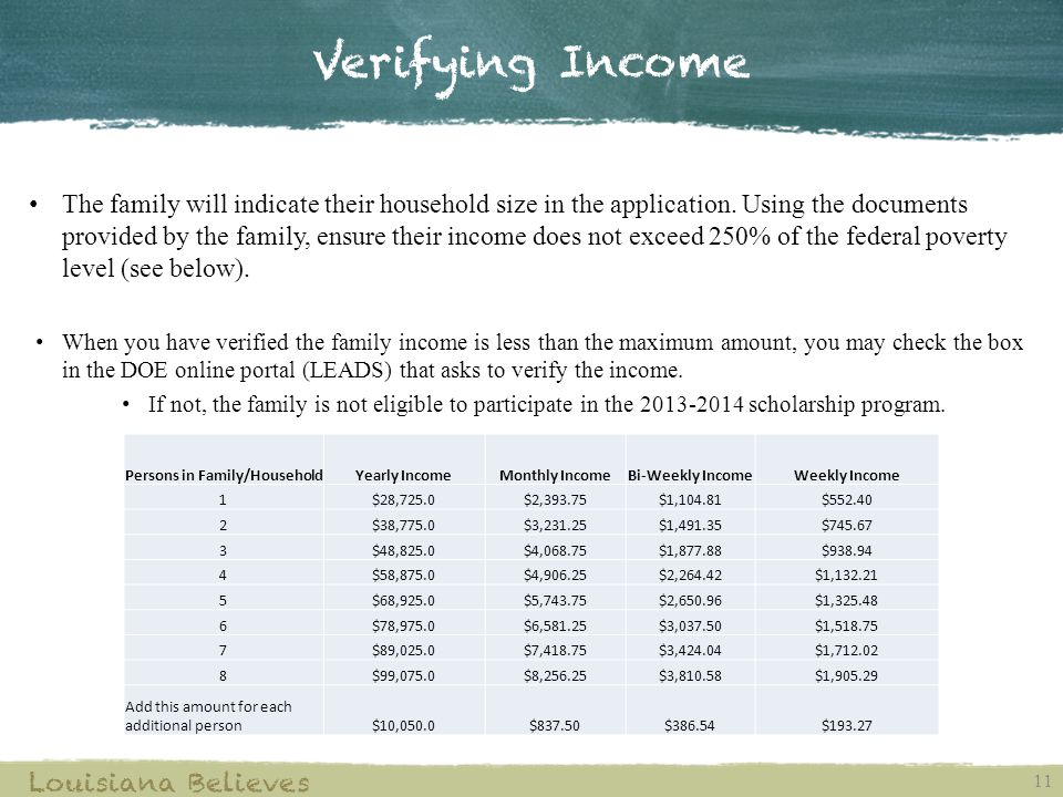 Verifying Income 11 Louisiana Believes The family will indicate their household size in the application.