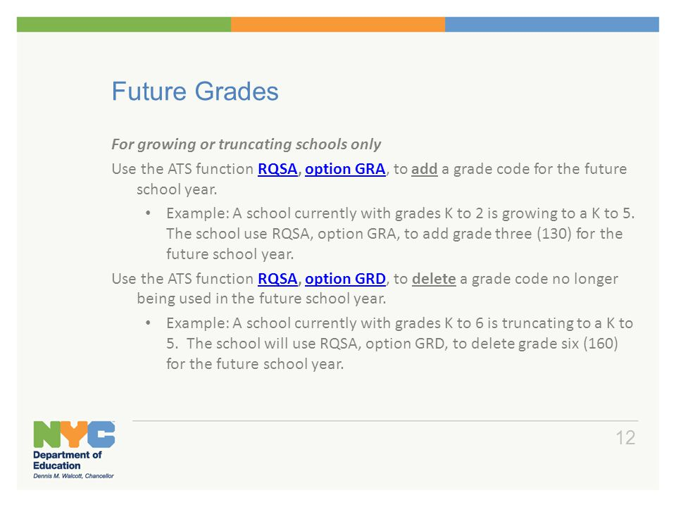 Future Grades For growing or truncating schools only Use the ATS function RQSA, option GRA, to add a grade code for the future school year.RQSAoption