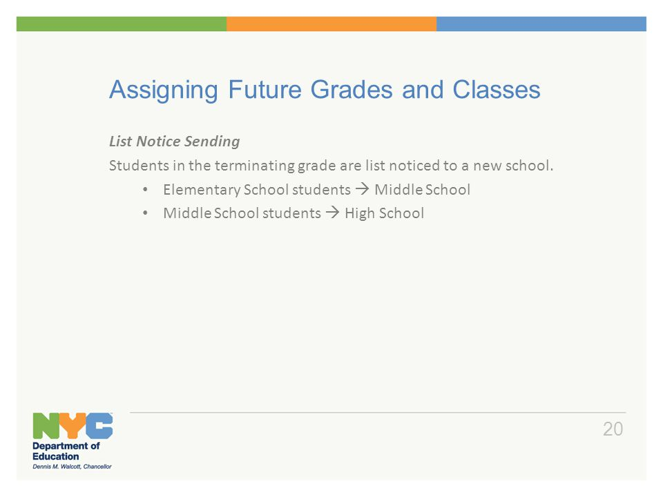 Assigning Future Grades and Classes List Notice Sending Students in the terminating grade are list noticed to a new school. Elementary School students