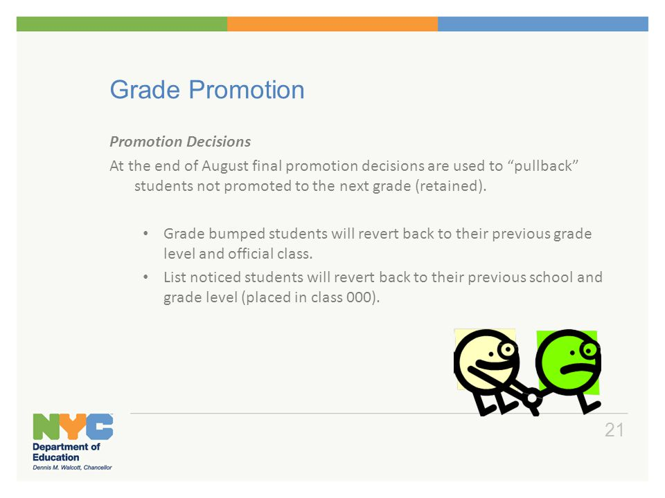 """Grade Promotion Promotion Decisions At the end of August final promotion decisions are used to """"pullback"""" students not promoted to the next grade (ret"""