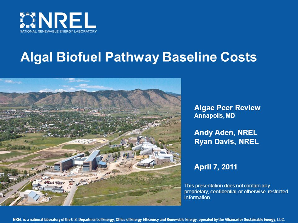 NREL is a national laboratory of the U.S. Department of Energy, Office of Energy Efficiency and Renewable Energy, operated by the Alliance for Sustain
