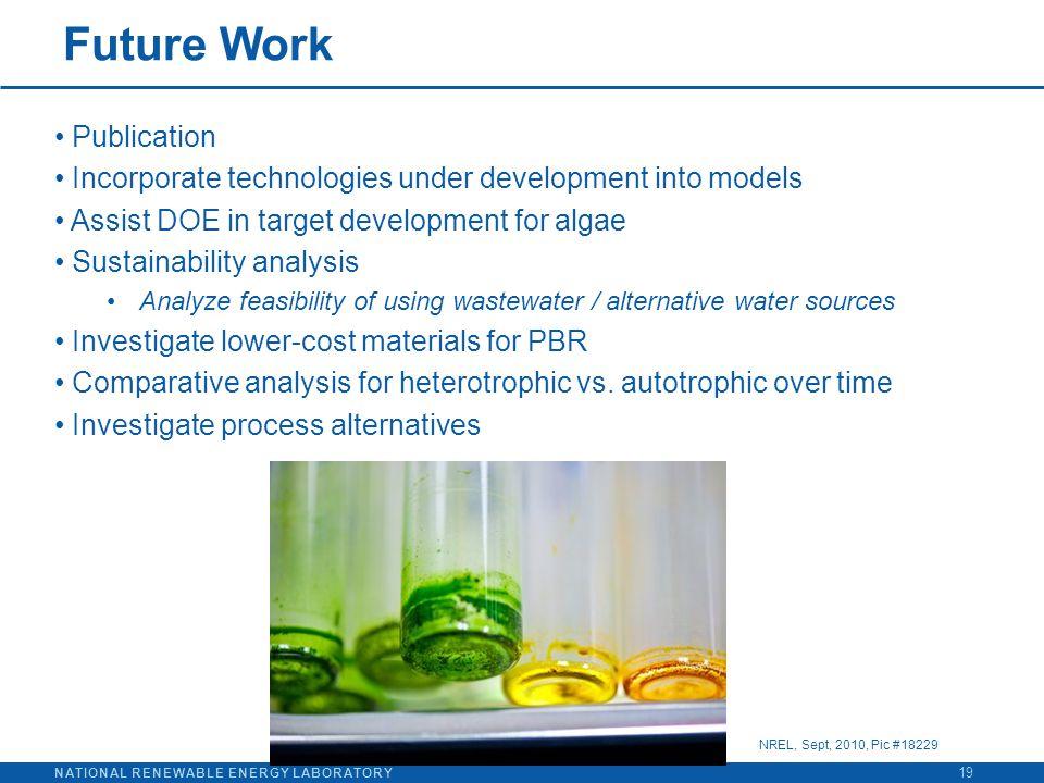 NATIONAL RENEWABLE ENERGY LABORATORY Future Work 19 Publication Incorporate technologies under development into models Assist DOE in target developmen