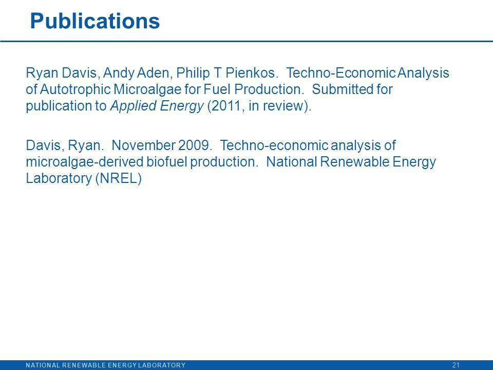NATIONAL RENEWABLE ENERGY LABORATORY Publications 21 Ryan Davis, Andy Aden, Philip T Pienkos. Techno-Economic Analysis of Autotrophic Microalgae for F