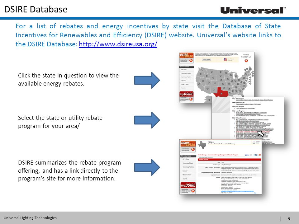 | 9 Universal Lighting Technologies DSIRE Database Click the state in question to view the available energy rebates. DSIRE summarizes the rebate progr