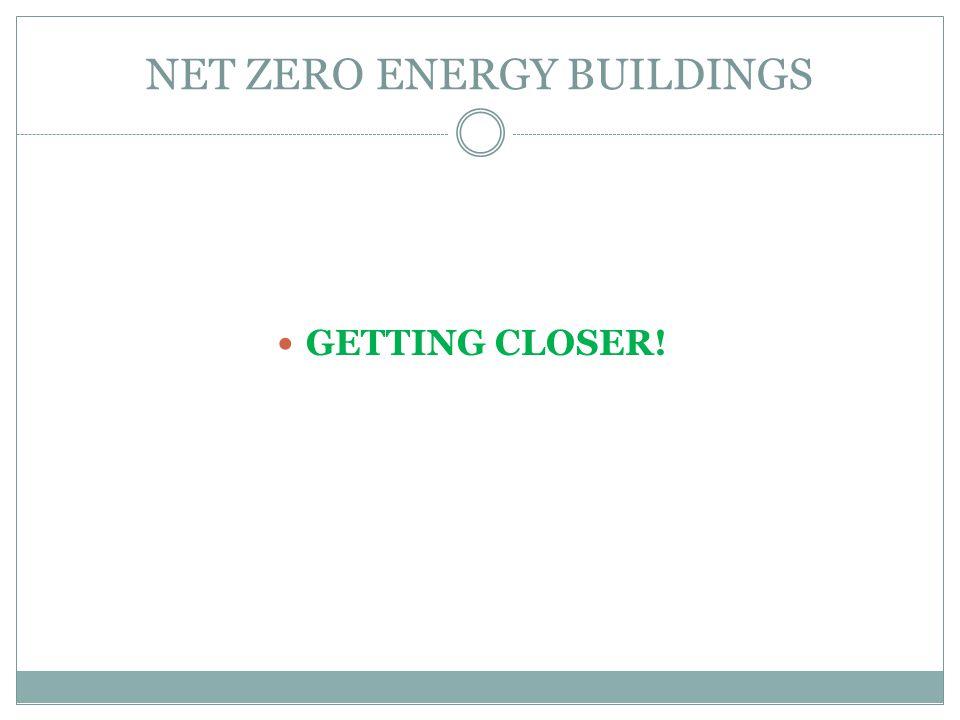 NET ZERO ENERGY BUILDINGS GETTING CLOSER!