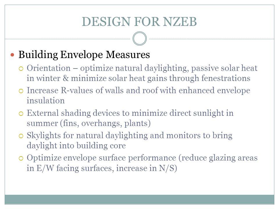 DESIGN FOR NZEB Building Envelope Measures  Orientation – optimize natural daylighting, passive solar heat in winter & minimize solar heat gains thro
