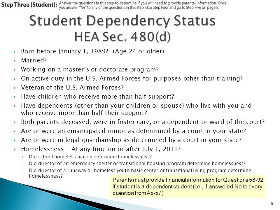 Jane is dependent and submitted parents taxes as married.