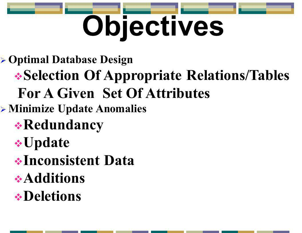 Objectives  Optimal Database Design  Selection Of Appropriate Relations/Tables For A Given Set Of Attributes  Minimize Update Anomalies  Redundancy  Update  Inconsistent Data  Additions  Deletions