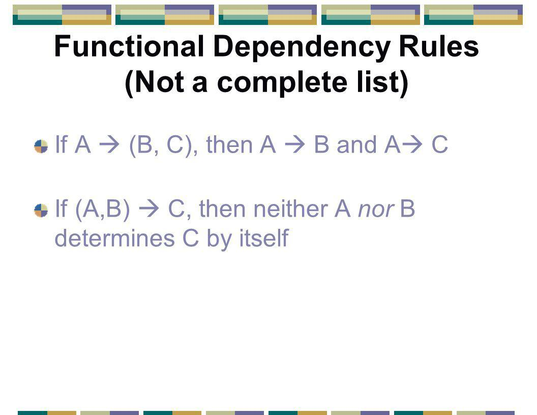 Functional Dependency Rules (Not a complete list) If A  (B, C), then A  B and A  C If (A,B)  C, then neither A nor B determines C by itself