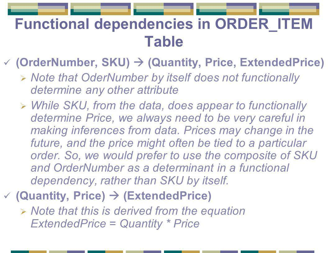 Functional dependencies in ORDER_ITEM Table (OrderNumber, SKU)  (Quantity, Price, ExtendedPrice)  Note that OderNumber by itself does not functionally determine any other attribute  While SKU, from the data, does appear to functionally determine Price, we always need to be very careful in making inferences from data.