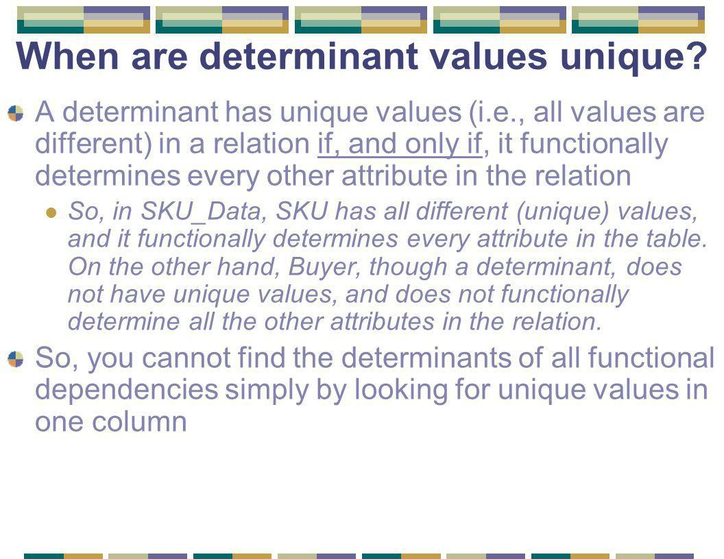 When are determinant values unique.