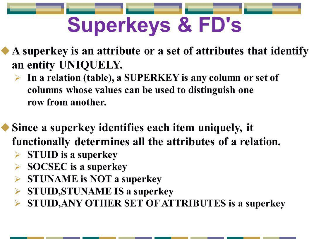 Superkeys & FD s u A superkey is an attribute or a set of attributes that identify an entity UNIQUELY.