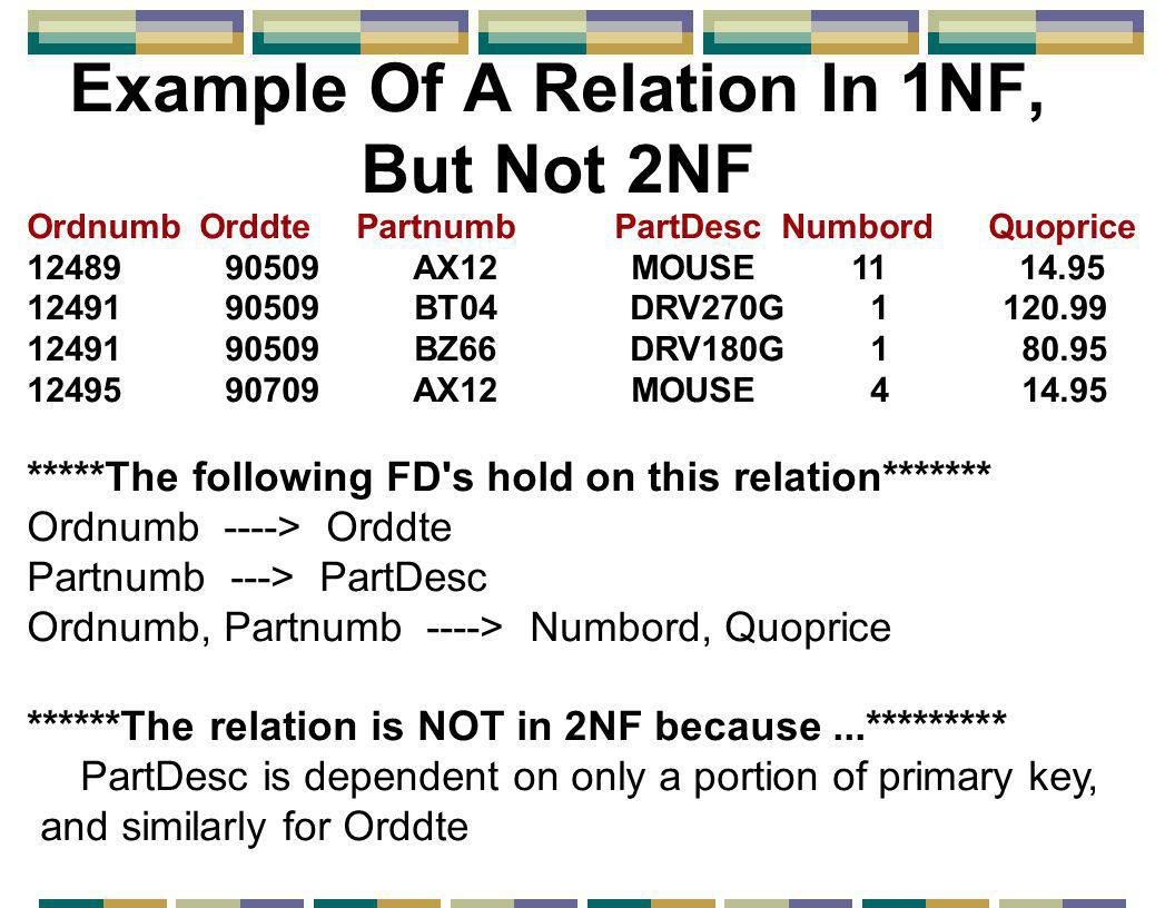 Example Of A Relation In 1NF, But Not 2NF Ordnumb Orddte Partnumb PartDesc Numbord Quoprice 12489 90509 AX12 MOUSE 11 14.95 12491 90509 BT04 DRV270G 1 120.99 12491 90509 BZ66 DRV180G 1 80.95 12495 90709 AX12 MOUSE 4 14.95 *****The following FD s hold on this relation******* Ordnumb ----> Orddte Partnumb ---> PartDesc Ordnumb, Partnumb ----> Numbord, Quoprice ******The relation is NOT in 2NF because...********* PartDesc is dependent on only a portion of primary key, and similarly for Orddte